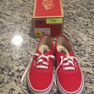 Almost New Sz. 4 Red Kids Vans w/ box